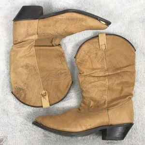 Cowboy booties in tan leather